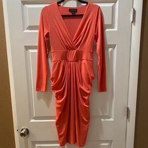 Marciano V-Neck Long Sleeve Midi Dress Size:Small